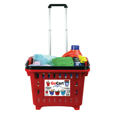 GoCart Rolling Shopping Basket - Laundry Shopping Cart with Collapsible Handle