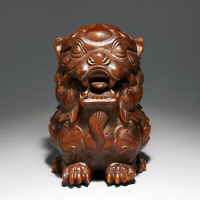 Collectable Old Boxwood Hand-Carved Myth Dragon Moral Auspicious Delicate Statue