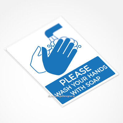 WASH YOUR HANDS WITH SOAP Health, Safety, Hygiene Waterproof Vinyl Decal Sticker