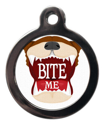 Pet ID fun tag BITE ME Picture Tag 2 sizes