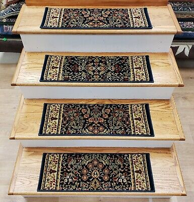 """Rug Depot 13 Traditional Non Slip Carpet Stair Treads 26/""""x7.5/"""" Ivory Stair Rugs"""