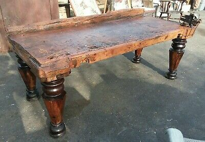 Primitive Wood Carpenter's Workbench Table With Vise - Kitchen Island Farmhouse