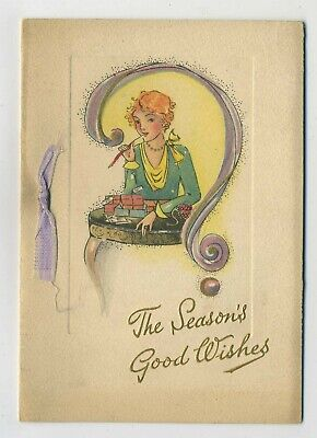 The Season's Good Wishes Vintage 1930's Art Deco Girl Greetings Card C1