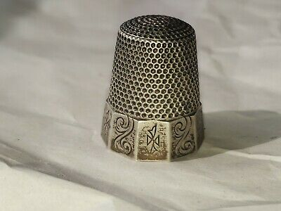 WAITE THRESHER Sterling Silver Thimble - Panels w/ Abstract Designs - Size 11