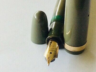 PARKER DUOFOLD AF Green Button Fill Fountain Pen Ca1947 Gold Nib England Repairs