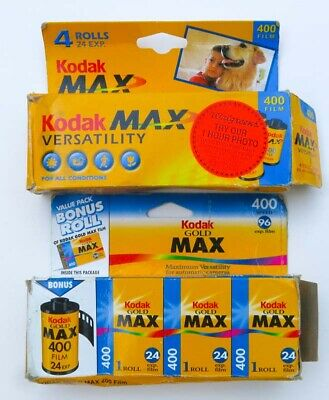 7 Rolls Kodak Max 400 + Gold 35mm 24 Exp Color Print Film Expired 2000 2006