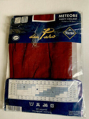 90's Vintage Red Satin Opaque Panty Hose Tights Les Etoiles Size Medium New