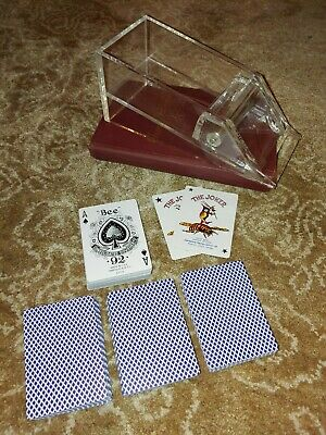 Card Shoe Clear Acrylic Weighted Metal Roller Holds 4 Decks Bee playing cards