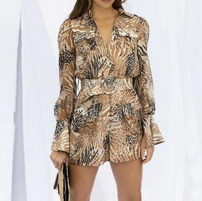 Womens Lapel Printed Long Sleeve Rompers Belt Colorblock Casual Jumpsuits Zsell