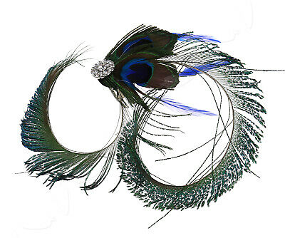 1920's Vintage Peacock Feather Fascinator Wedding Party Hair Clip Jewelry Acces