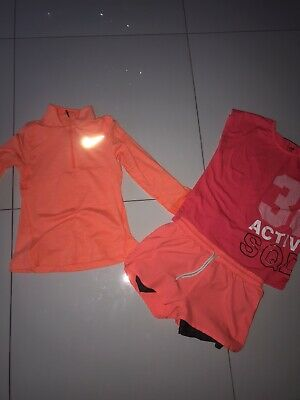 Nike Girls Orange Half Zip, Jacket And Next Shorts 8-10