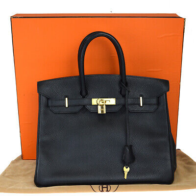 Authentic Hermes Birkin 35 Taurillon Clemence Leather Hand Bag Black 971La375