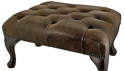BRAND NEW Chesterfield Deep Button Queen Anne Footstool 100% Antique Red Leather