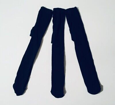 Miss Fiori Girls Plain Tights Age 2-3 Years 3 Pack Dark Navy Blue