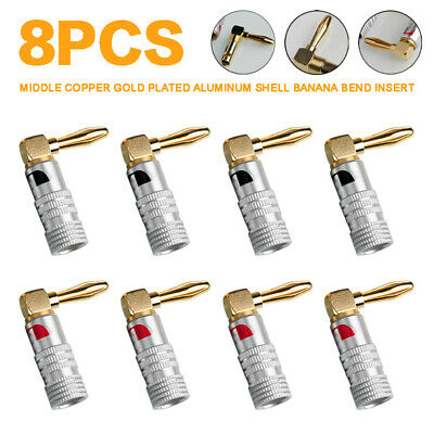 8 Pcs 4mm Banana Plugs 24K Gold Plated 90° Right Angle Screw Speaker Connector