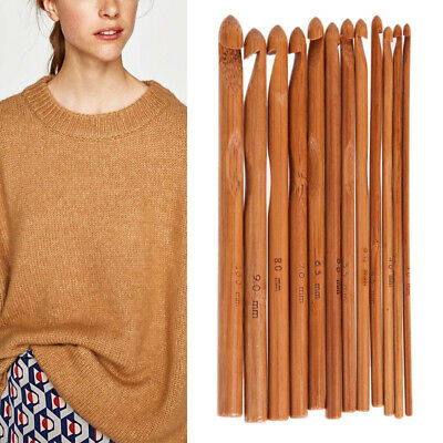 12X Bamboo Tunisian Crochet Hooks Set Kit 12 Sizes 3mm to 10mm Knitting Needle