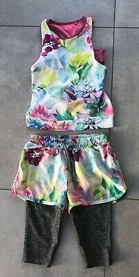 Next Girls Floral Gym Activewear Outfit Shorts Sports Bra Leggings Age 4-5 Years