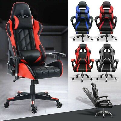 Executive Racing Gaming Office Chair Home Swivel PU Leather Computer Desk Chair