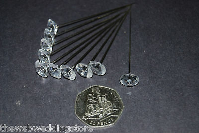 Corsage Pins pack 10 Diamante topped pins - A sensibly priced pin - length 65mm