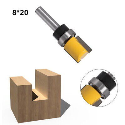 2x Double Flute Flush Trim Router Bits Top Bearing 8mm Shank Woodworking Cutter