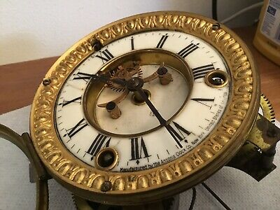 Antique Ansonia Clock Movement With Porcelain Dial, Hands, Glass And Bezel