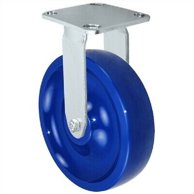 """CASTERHQ- 8"""" Stainless Rigid Caster - Solid Polyurethane - 1,250 lbs Capacity"""