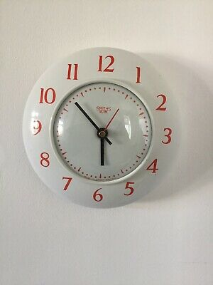 Original 1950s Smiths Sectric Enamel Wall Clock Battery Converted Perfect
