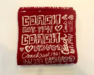 "COACH Scarf Red Very Soft 60"" x 7"" Hearts"