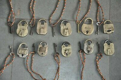 10 Pc Old Brass Handcrafted Unique Different Brand Padlock, Rich Patina