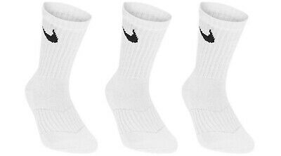Nike Boys Kids Socks 3 Pairs Crew Size U.K 9-10 (Eur 27-28) White Brand New