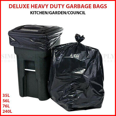 Garbage Bags Heavy Duty Kitchen Rubbish Bin Liners Large Plastic Bags Black Bulk