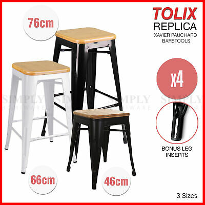 4x Tolix Wooden Bar Stool High Replica Xavier Pauchard Metal Steel Kitchen Cafe