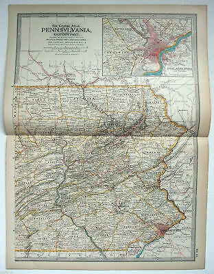 Original 1897 Map of Pennsylvania Eastern Part Part by The Century Co,
