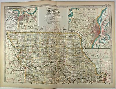 Original 1897 Map of Missouri Northern Part by The Century Co,