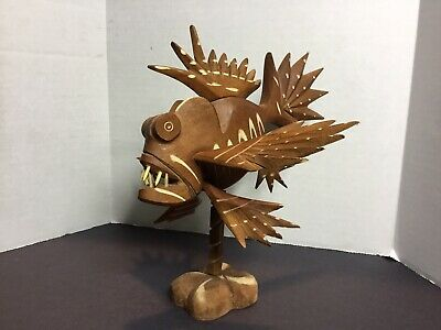Hand Carved Wood Lionfish Fish Sculpture Carving Figurine Folk Art