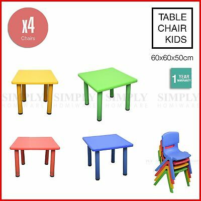 Kids Table and 4 Chairs Set Children Plastic Activity Play Outdoor Large 60x60cm