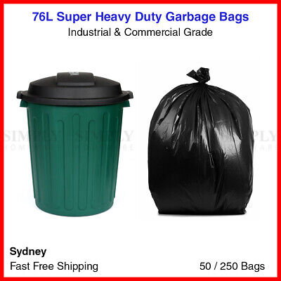 76L Garbage Bags Heavy Duty Kitchen Rubbish Bin Liners Large Plastic Bags Black