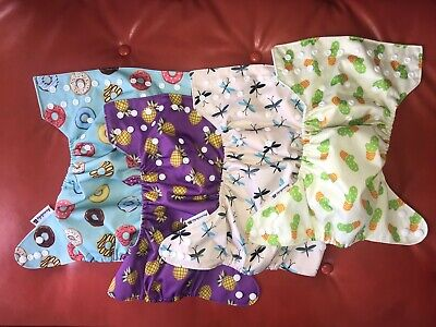 Anmababy 4 Pack Adjustable Size Waterproof Washable Pocket Cloth Diaper, Wet Bag