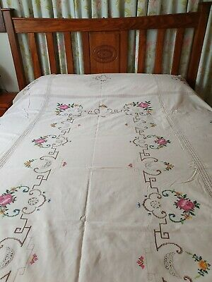 Vintage Embroidered & Crocheted Tablecloth or Bedcover Unused 258xm x 172cm