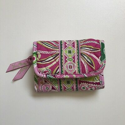 Vera Bradley Wallet Pinwheel Pink Green Floral Retired Pattern Coin Pouch Small