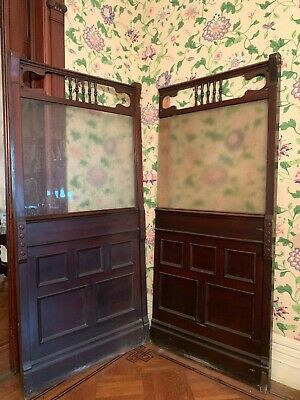 Antique Mahogany & Etched Glass Bar Divider Screen Partitions