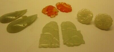 Antique Chinese Carved White Jade Ornaments Buttons Lot,  PAIRS, Cats