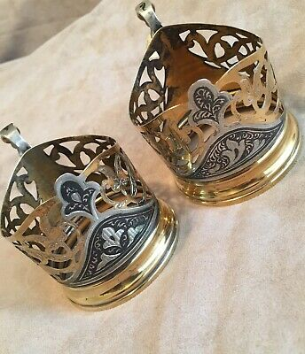 2 X Vintage Russian Podstakannik Solid 875 Silver Tea Glass Holders Gilt Niello