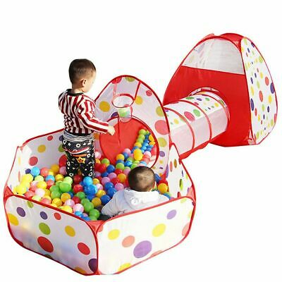 3 in 1 Childrens Baby Pop-Up Play Tent Crawl Tunnel Ball Pit Playhouse Kids Gift