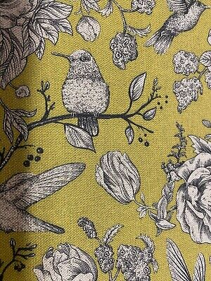 Daisy Hedgerow Yellow//Grey Designer Linen 140cm wide Curtain Fabric