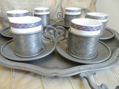 Vintage Zinn Pewter Demitasse Coffee Set with Kronester Porcelain Inserts
