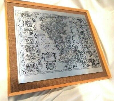 Antique Saxon Steel Etching Framed  Mounted   Map English Map  RARE Heptarchy