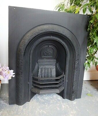 Lovely Vintage Cast Iron Fire Insert Surround Victorian Arch Style