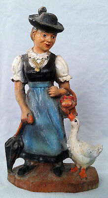 Vintage Hand Painted ANRI? Carved Wood Woman Lady with Goose Figurine