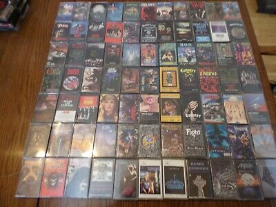 HUGE AMAZING METAL LOT OF 77X CASSETTE TAPES HAIR THRASH DEATH great condition